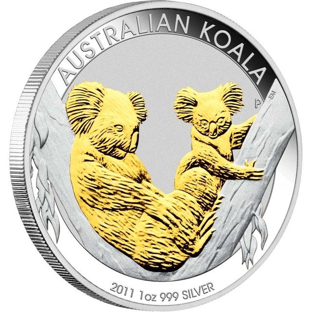 2011 Australian Koala Silver Coin Series 1oz Gilded Edition Silver Coins Gold Bullion Coins Silver Coins For Sale