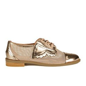 F-Troupe Women's Mesh/Leather Brogues - Champagne: Image 1