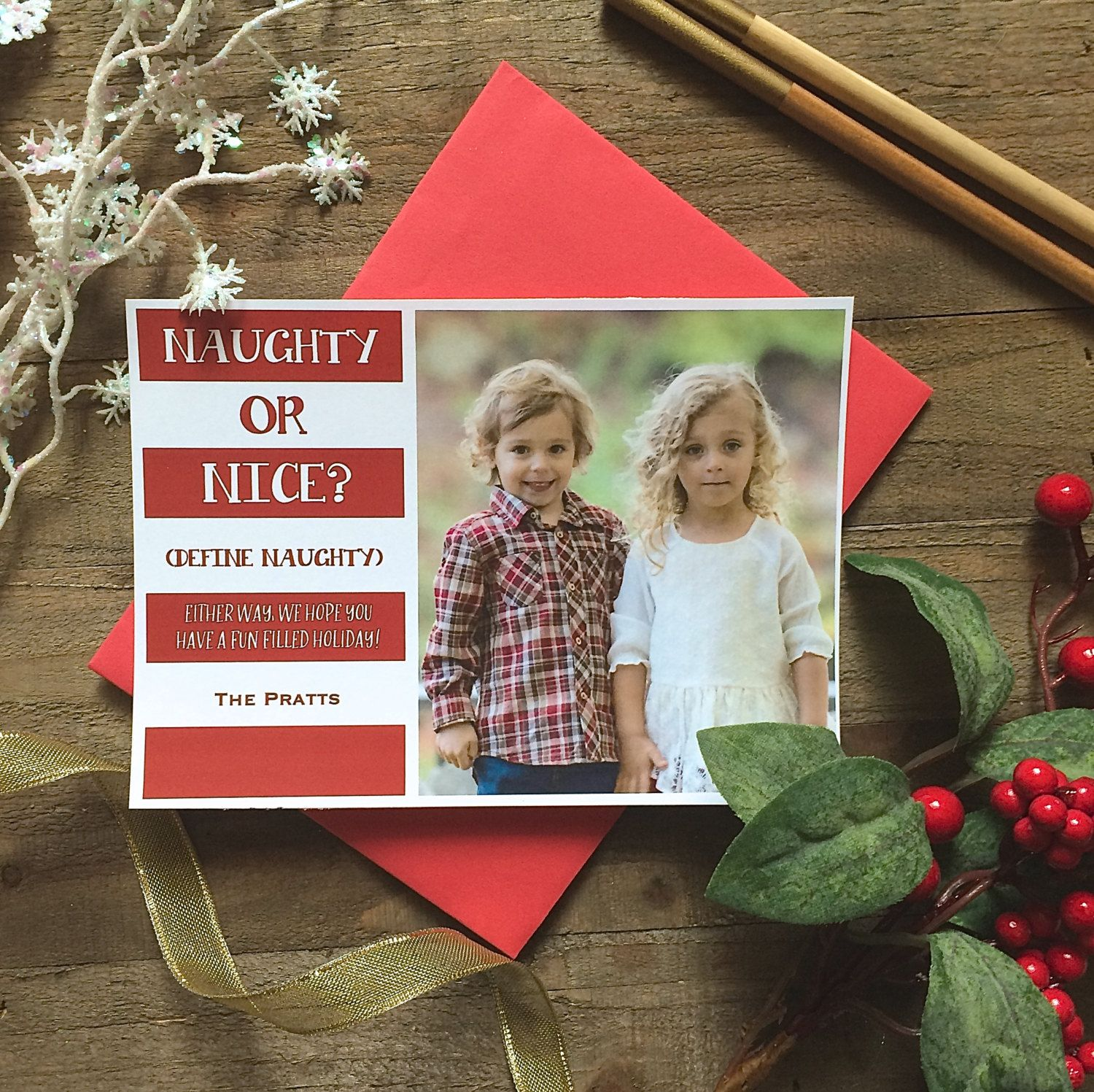 5 x 7 Custom Digital or Print Naughty or Nice Christmas Greeting/ Photo Christmas Greeting Card/ FREE SHIPPING by ArtPaperScissorsGlue on Etsy
