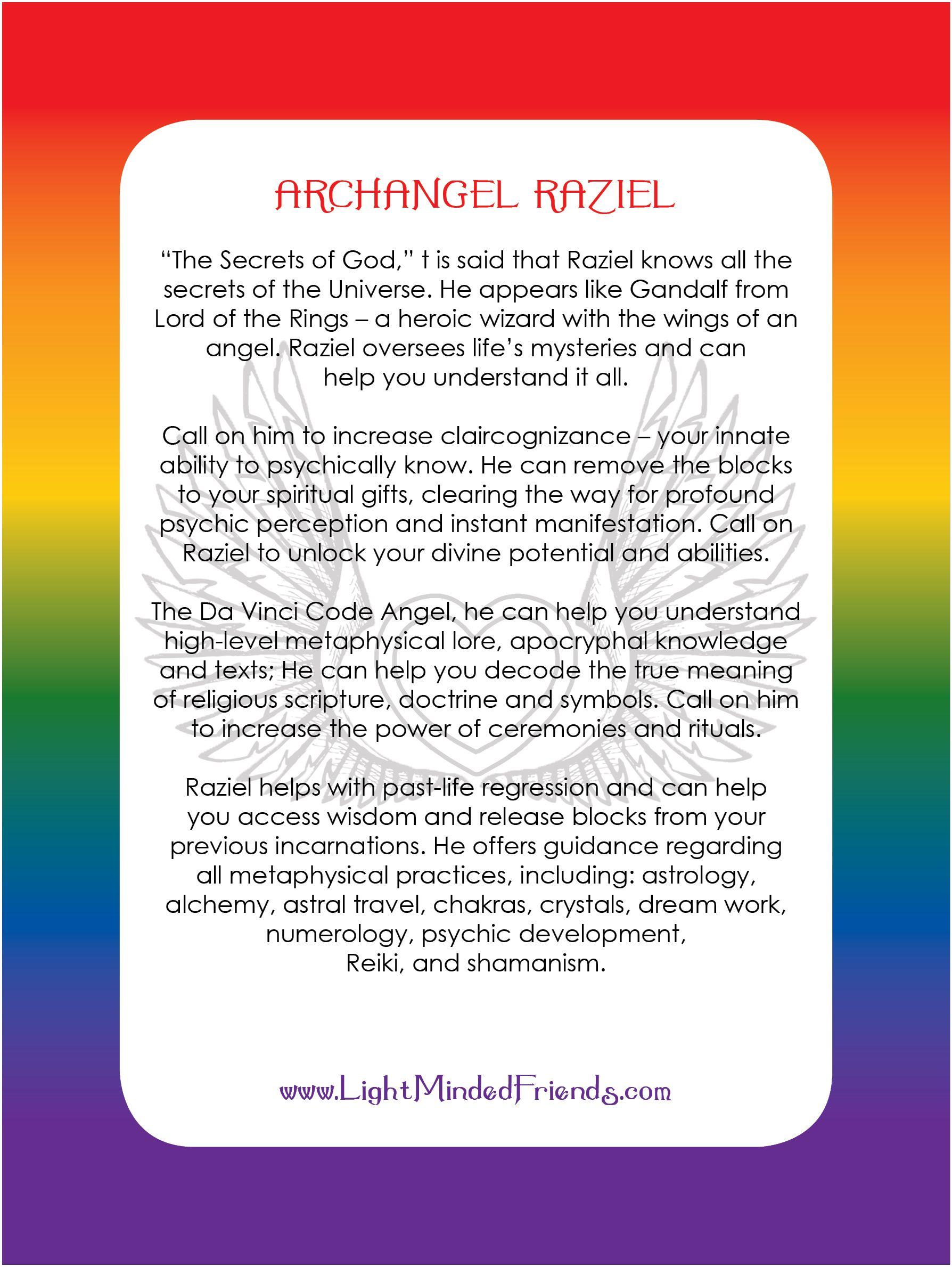 Archangel Raziel Card Printed On 310gsm Laminated Linen Card