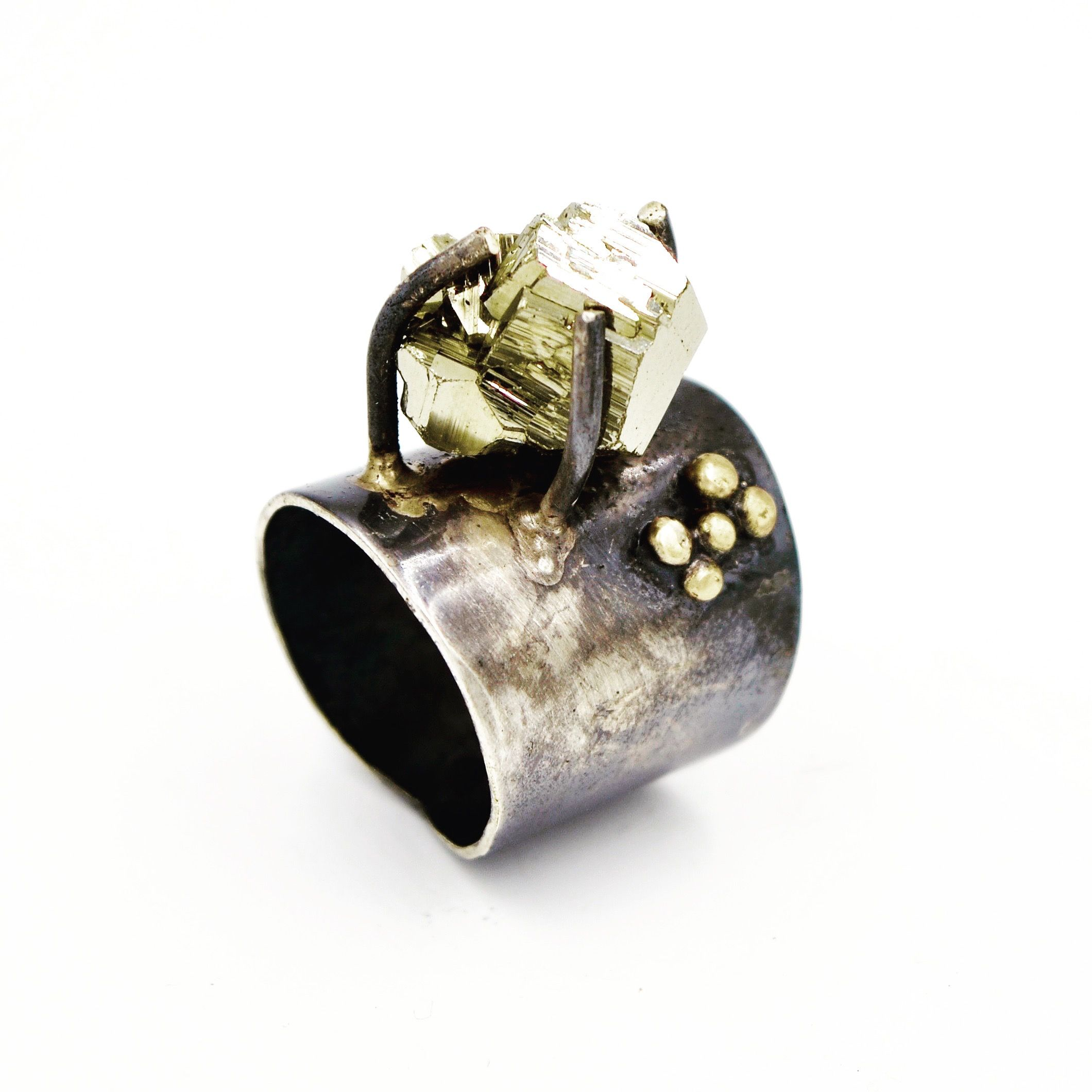 Contemporary Jewelry: Sterling silver ring, set with 18k Gold ...