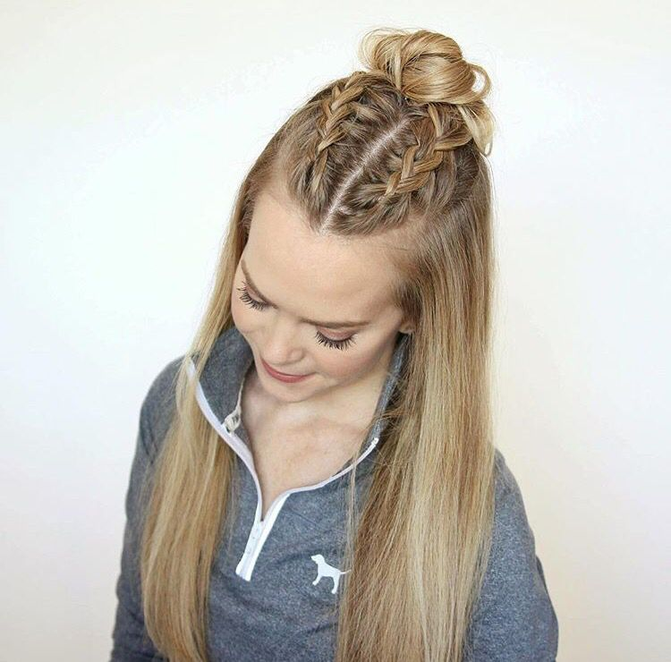 Half up half down braids       Hair       Pinterest   Hair style  Makeup     Half up half down braids