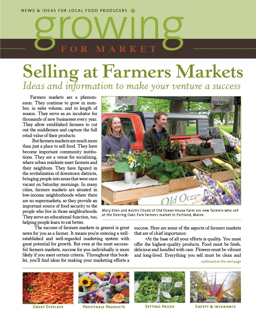 Selling at Farmers Markets is a FREE downloadable issue of
