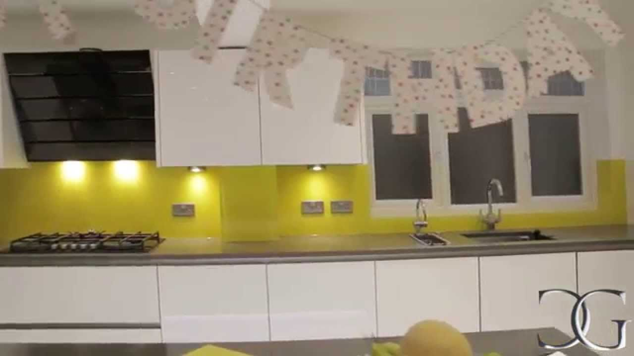 Canary Yellow Kitchen Splashback Coloured Gl Installation By Creogl London Uk View More And Worktop