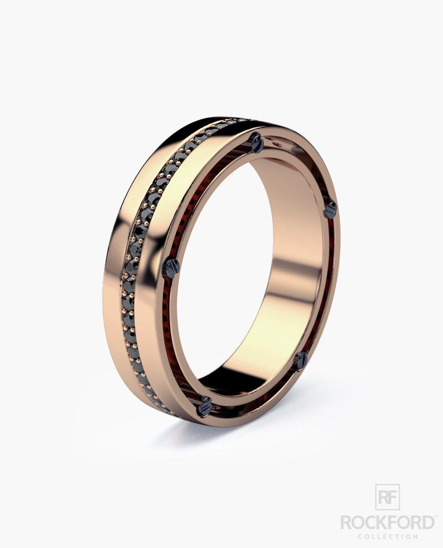 FRANKLIN Comfort Fit Gold Mens Wedding Band With Black