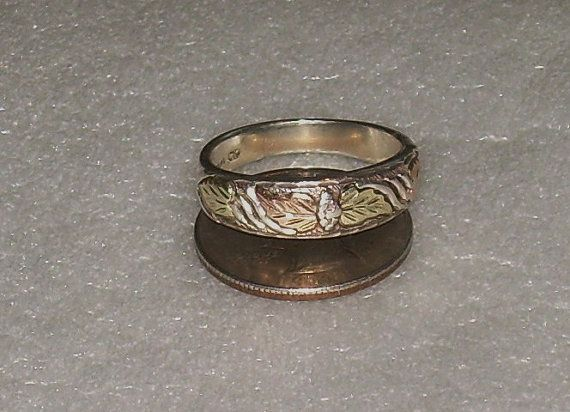 Black Hills Gold Tri Color Wedding Band Ring Sz 10 75 Vintage