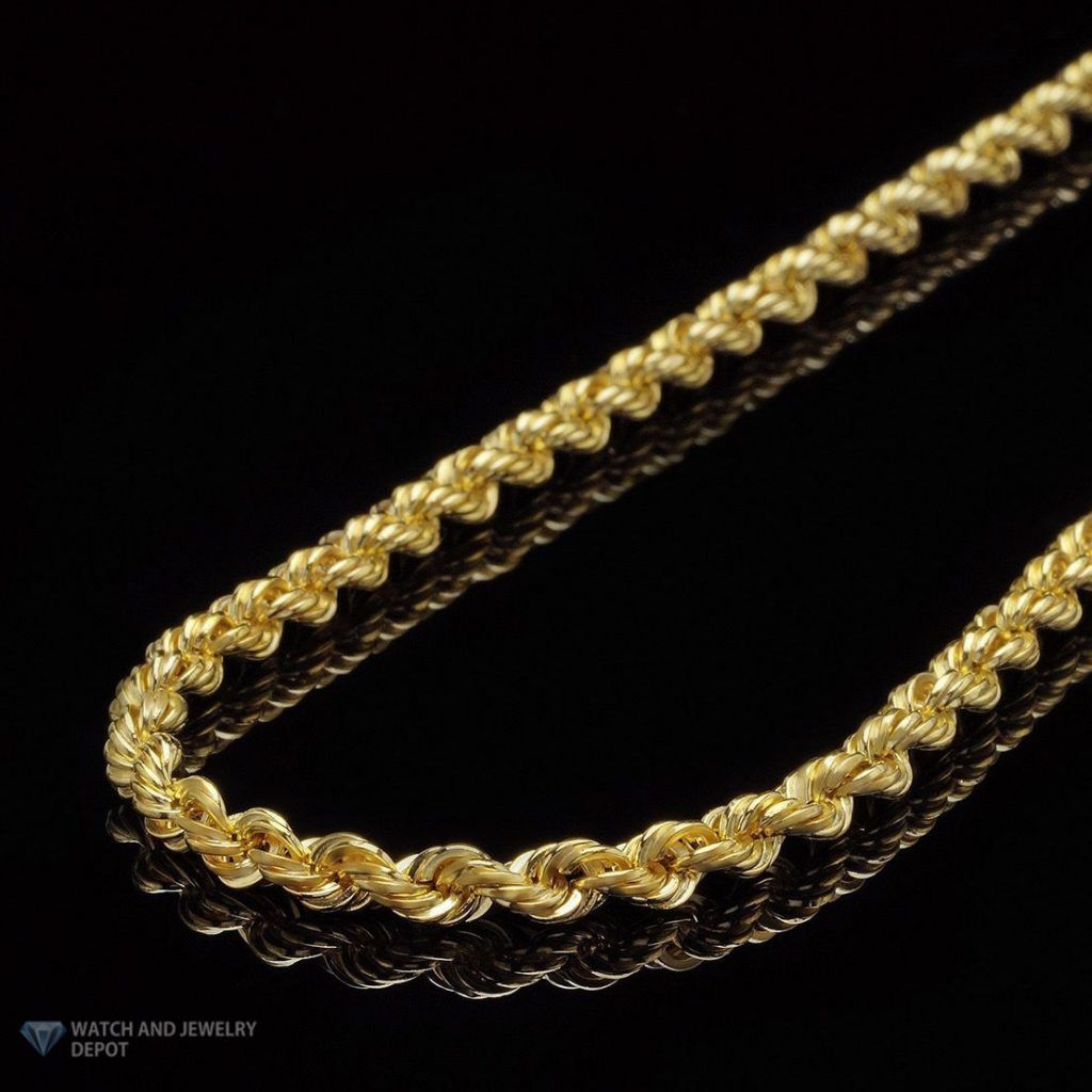 14k Yellow Gold Hollow 4mm Franco Chain Necklace 24 26 28 30 32 Wjd Exclusives Chain Link Necklace Fine Gold Necklace Gold Rope Chains