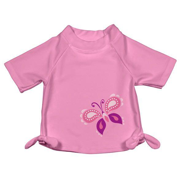 iplay Mix 'n Match Short Sleeve Bow Rashguard Pink Butterfly