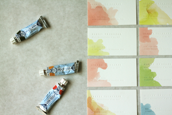 Watercolor business cards. Awesome Idea.