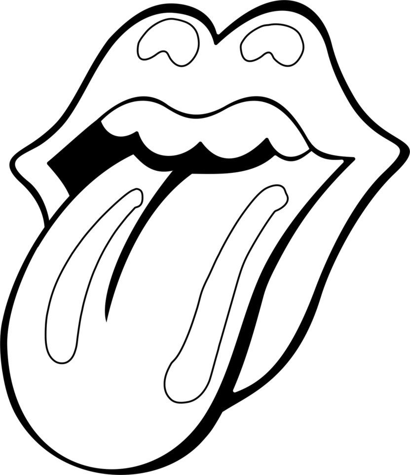 Mouth Tongue Coloring Pages Rolling Stones Logo Rolling Stones Tattoo Rolling Stones
