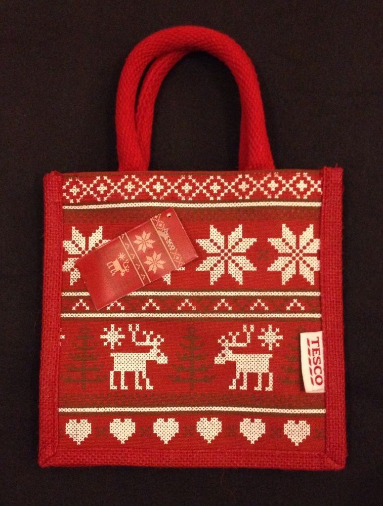 Tesco Fair Isle Christmas Jute Tote Bag Red Reusable 2013 UK ...