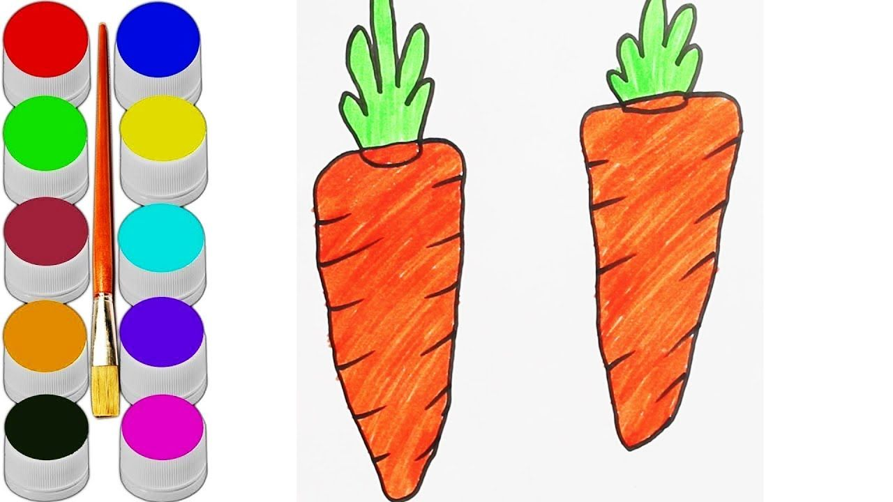 Carrot Drawing For Kids How To Draw Carrot Coloring Pages Art