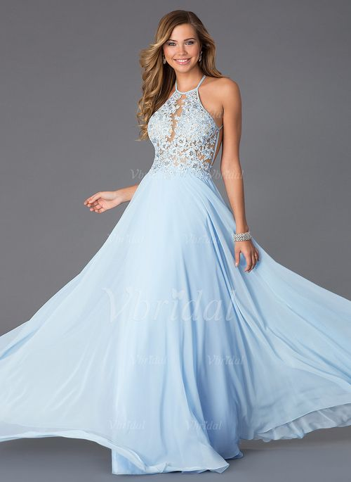 4be4052aef A-Line/Princess Halter Floor-Length Appliques Lace Chiffon Zipper Up Strapless  Sleeveless No Sky Blue Spring Summer Prom Dress