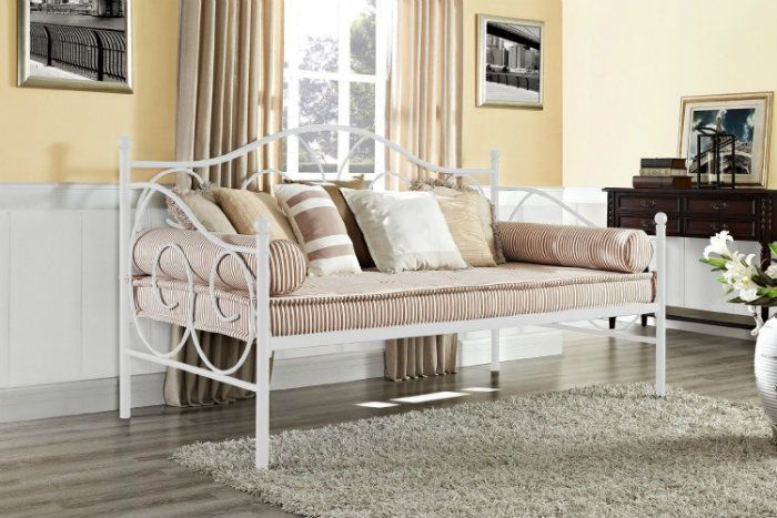 White Metal Daybed Twin Size Modern Bedroom Furniture Living Room  Contemporary
