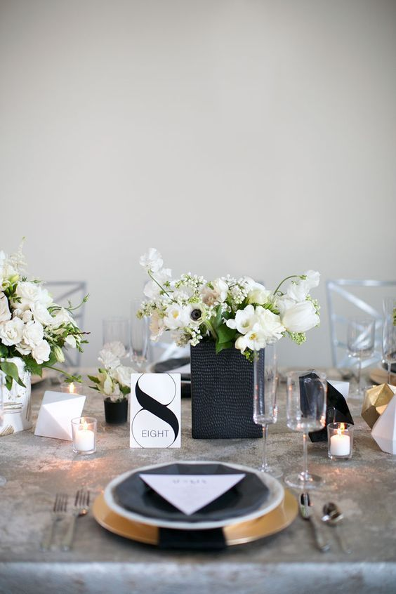41 Edgy Modern Wedding Ideas Youu0027ll Love modern table setting with geometric details candles and white flowers & 41 Edgy Modern Wedding Ideas Youu0027ll Love | Modern table White ...