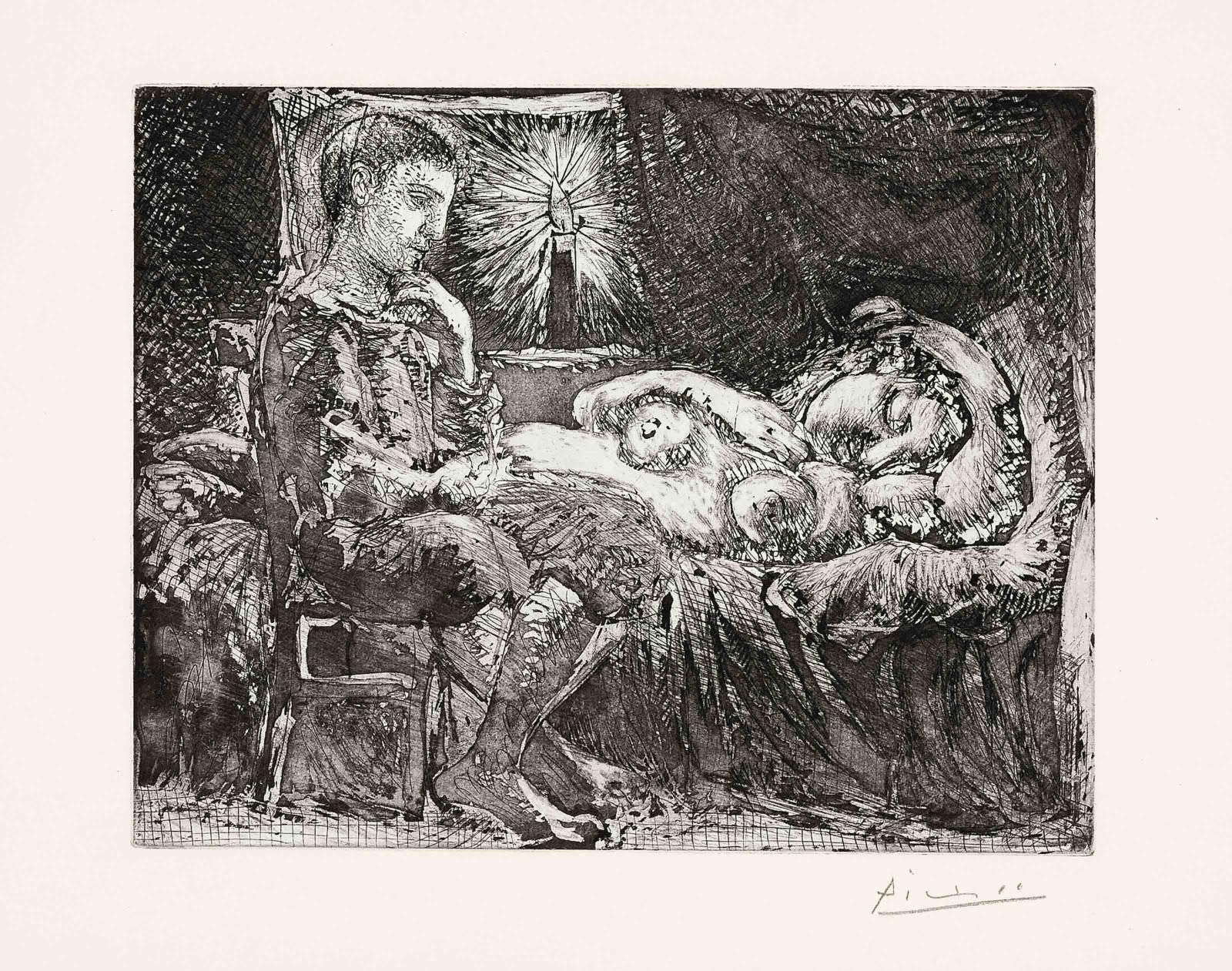 Pablo Picasso (1881-1973) Garcon Et Dormeuse A La Chandelle 1934 (343 x 449 mm)