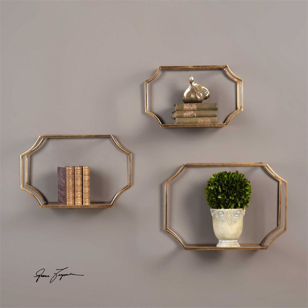 Gold Floating Shelves Beauteous Uttermost Lindee Gold Wall Shelves S3  Wallmount Shelves Review