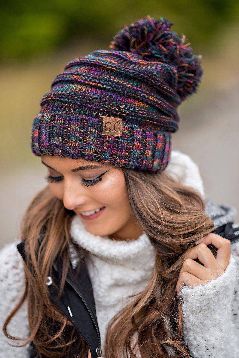 cc knit fold over pom beanie (black & multi) | cozy, stitch and
