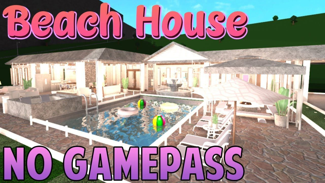 No Gamepass Beach Mansion Bloxburg Speedbuild Iiimaggieee Youtube Beach Mansion Mansions Pool Houses