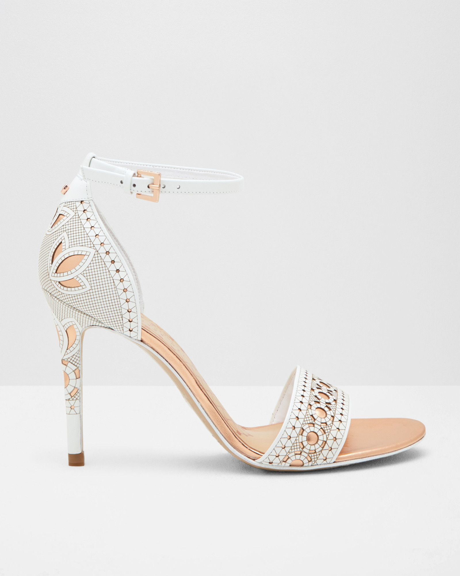 7cd028432 Laser cut strappy heeled sandals - White