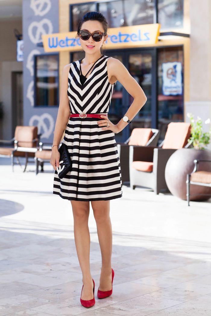 Black And White Striped Sundress