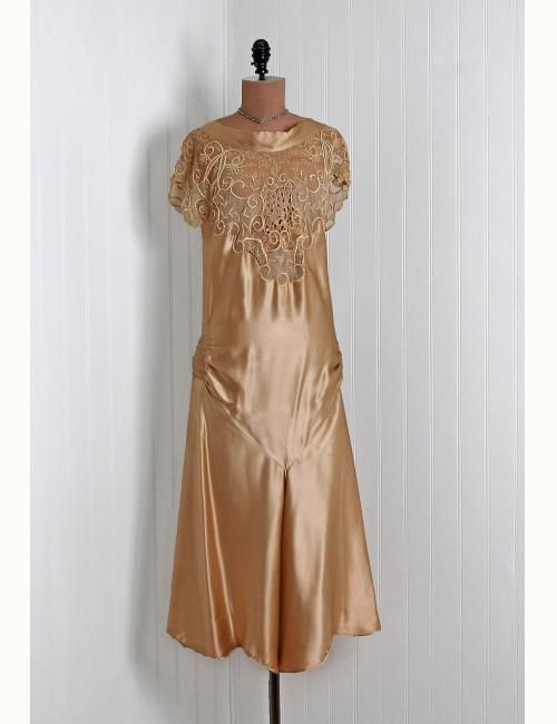1920's Champange-Gold Embroidered Flapper