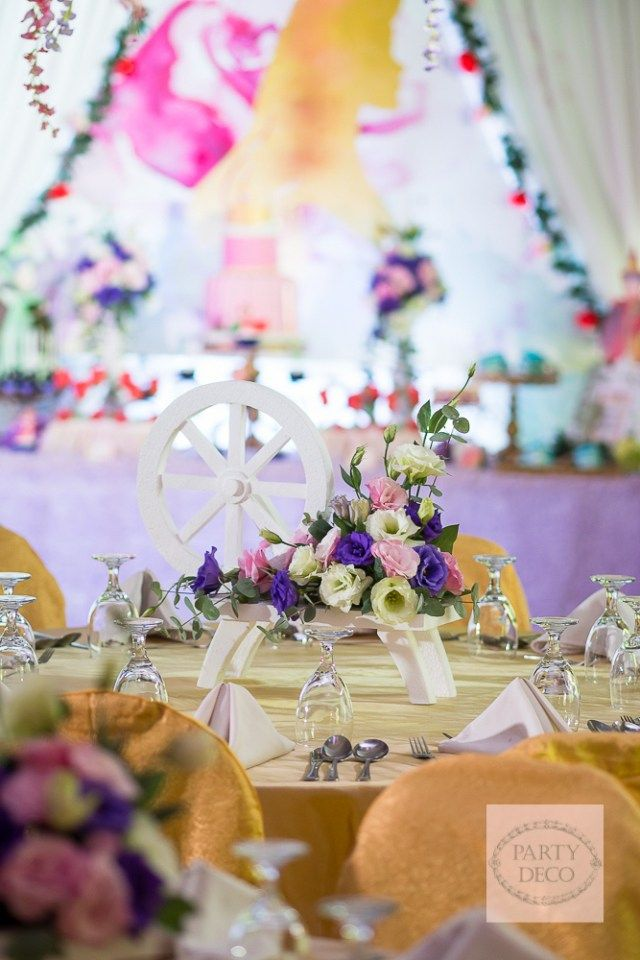 Alessa s sleeping beauty themed party table centerpiece for Sleeping beauty wedding table