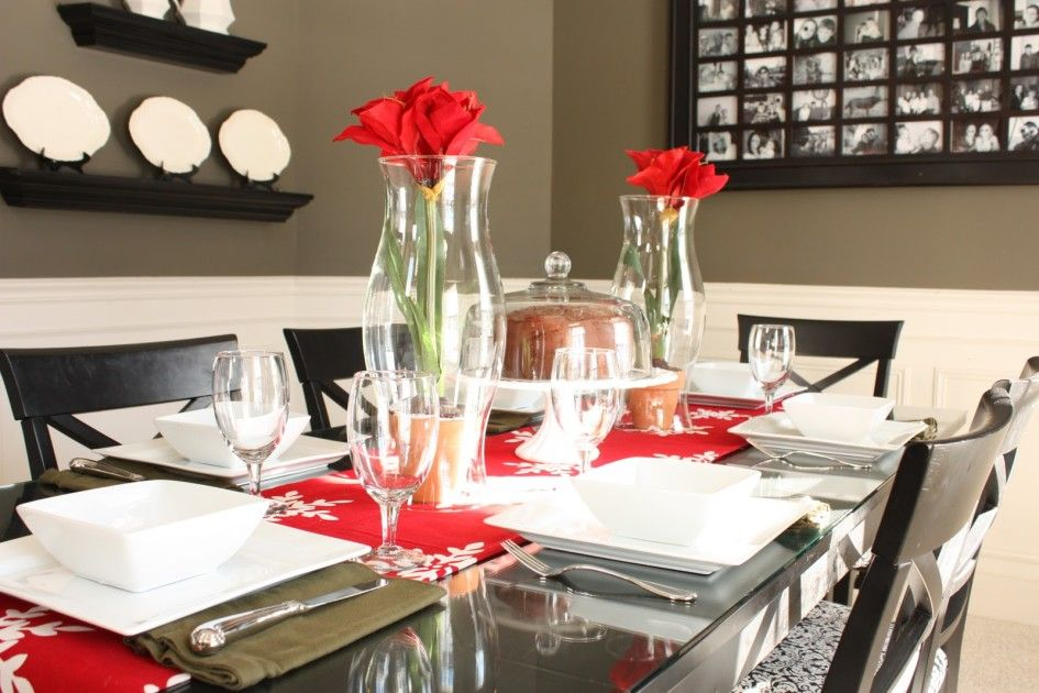 Ideas Valentine S Day Table Decoration On Wonderful Giant Rectangular Glass Dining S Christmas Dining Table Christmas Dining Decor Christmas Dining Room Table