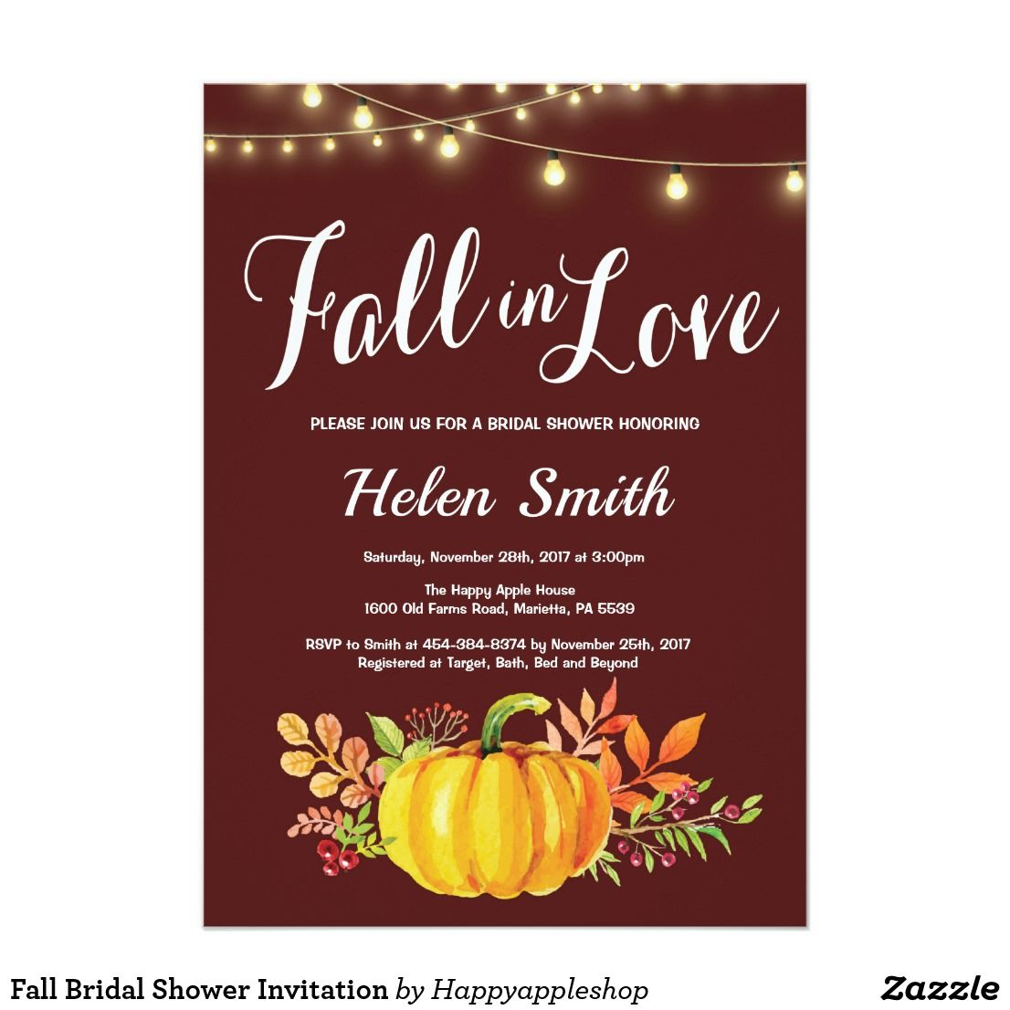 Fall Bridal Shower Invitation | { Wedding Invitations , Favors , and ...
