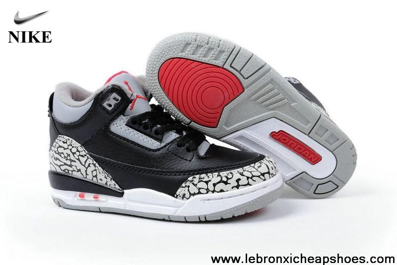 best sneakers fb4a8 5f485 Buy Latest Listing Kids Jordan 3 Black Grey Red Latest Now