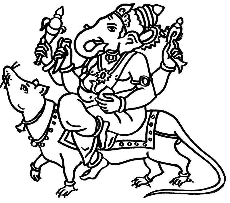 Hindu Gods Coloring Pages Ganesha Ganesh Images Coloring Pages