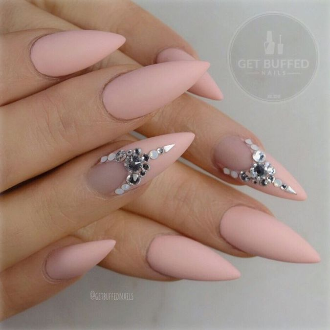 Embellished nude pointy nail design | nail art | Pinterest | Pointy ...