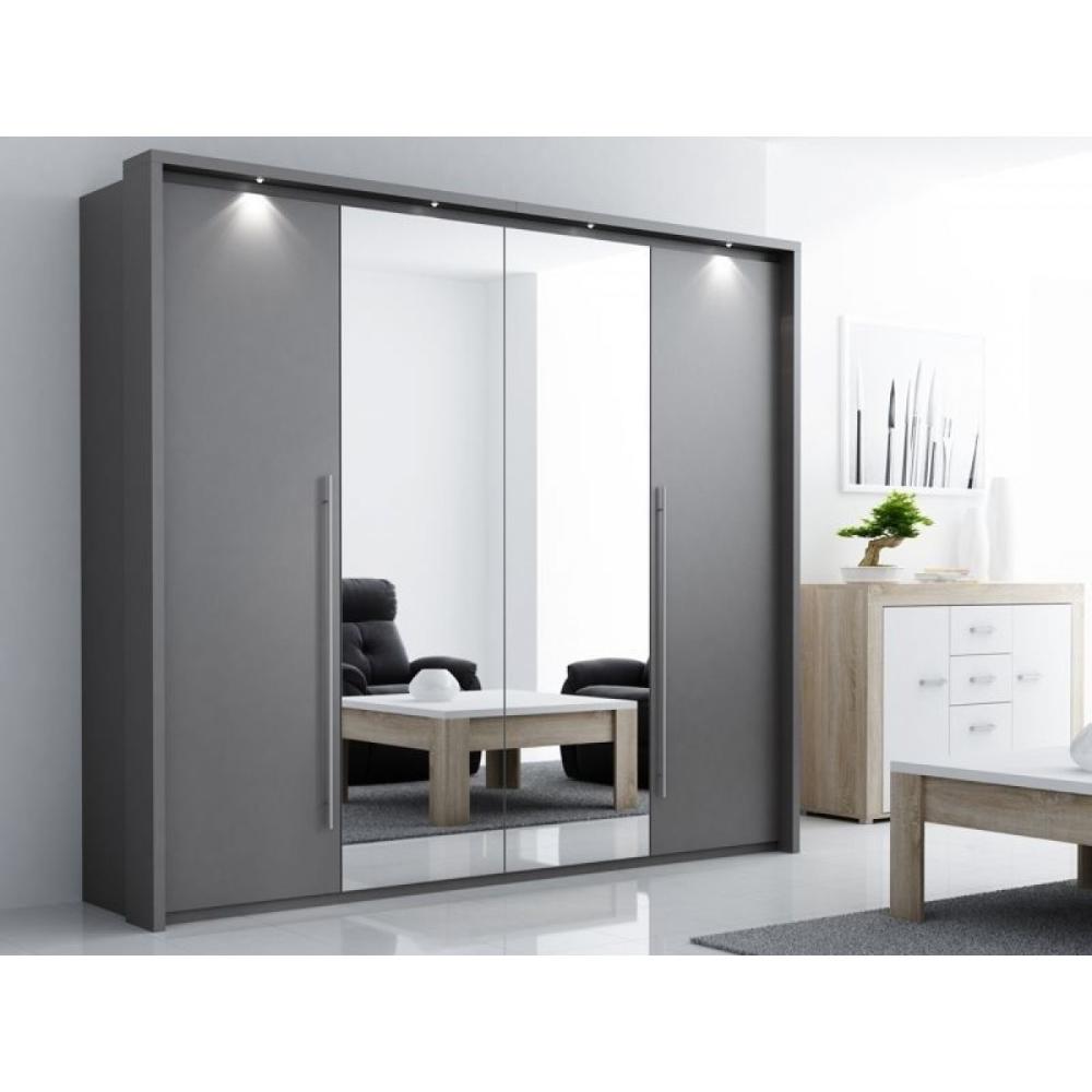 Sliding door grey mirrored wardrobe in 2020   Sliding ...