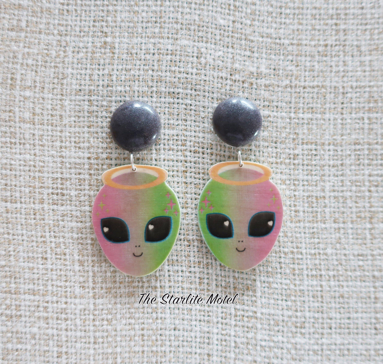 ohrringe resin earrings Alien earrings kawaii earrings