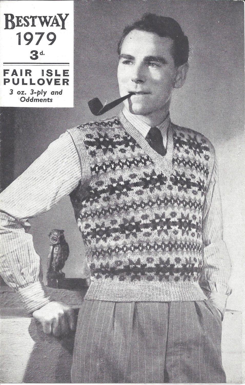 Man Fair Isle Tank / Pullover Vintage Knitting Pattern 537 by ...