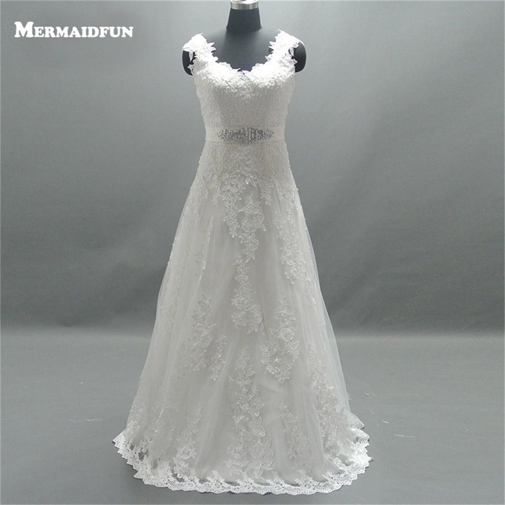 Country style lace wedding dress   Real Photos A Line Cap Sleeve Country Style Lace Beaded Belt