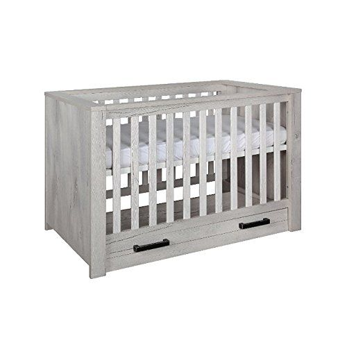 Kidsmill Fjord Crib In Light Grey Oak With Drawers