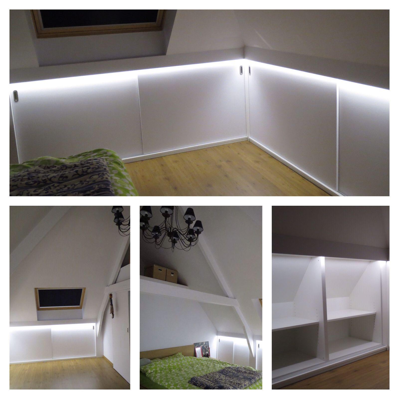 Maatkasten onder schuin dak met led verlichting custom made smart furniture pinterest - Mezzanine verlichting ...