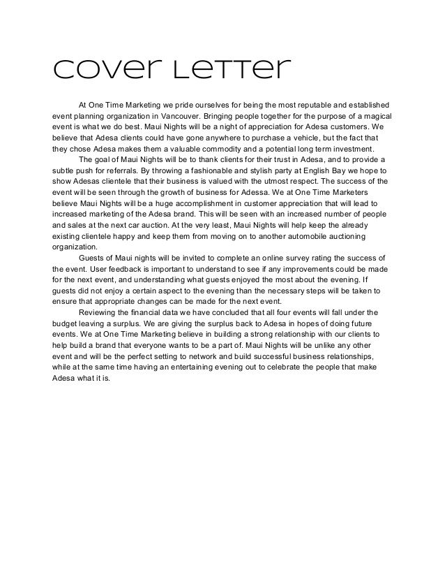 Event Coordinator Cover Letter Planner Example For Job Resume
