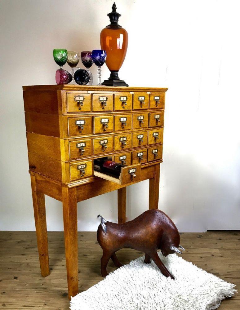 Antique Wooden Oak Index Drawer / Library
