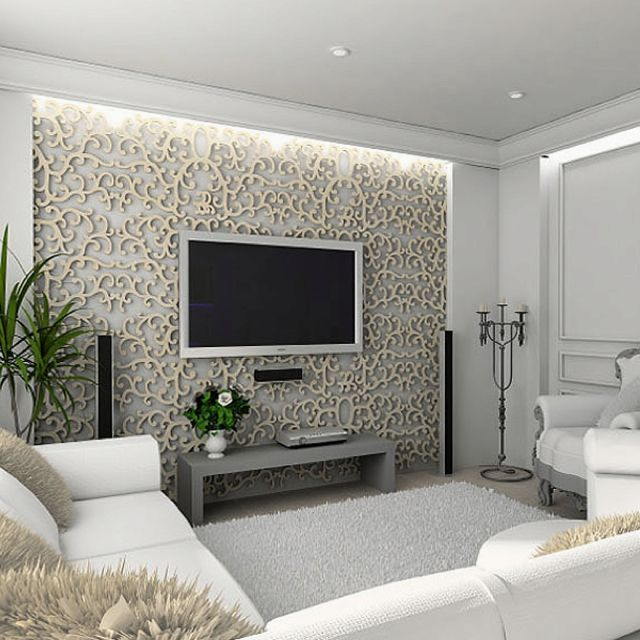 Bedroom Tv Cabinet Design Art Deco Style Bedroom Ideas Bedroom Fireplace Bedroom Design Styles: Ambient Light Behind The TV? ...And That Scroll Pattern Is