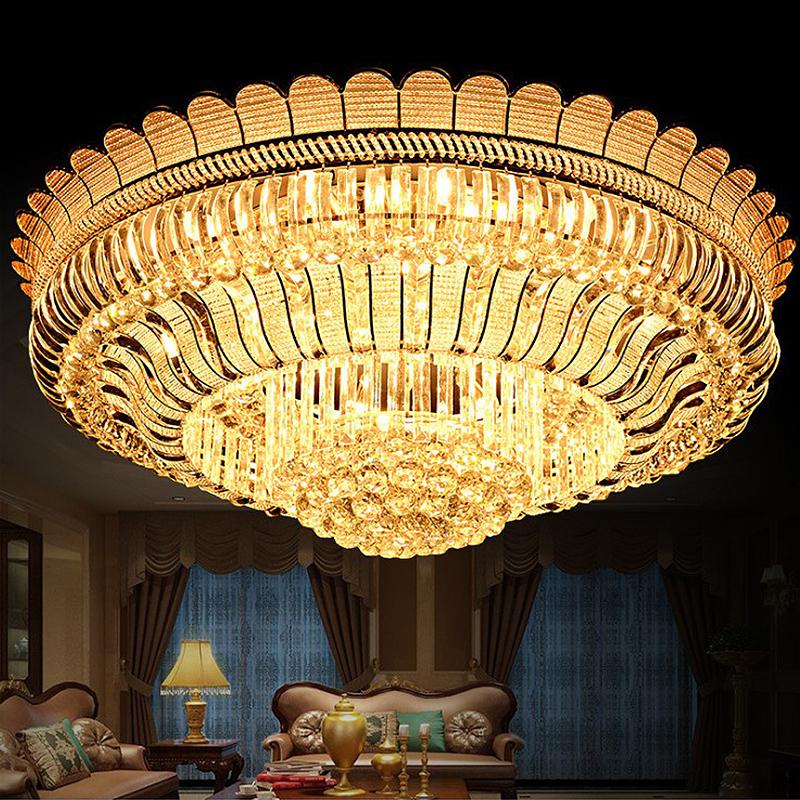 Luxury Led Crystal Ceiling Light Gold Led Flush Mount Round