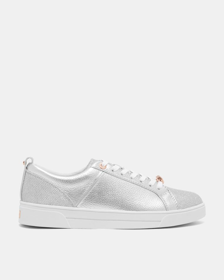 Leather glitter tennis sneakers