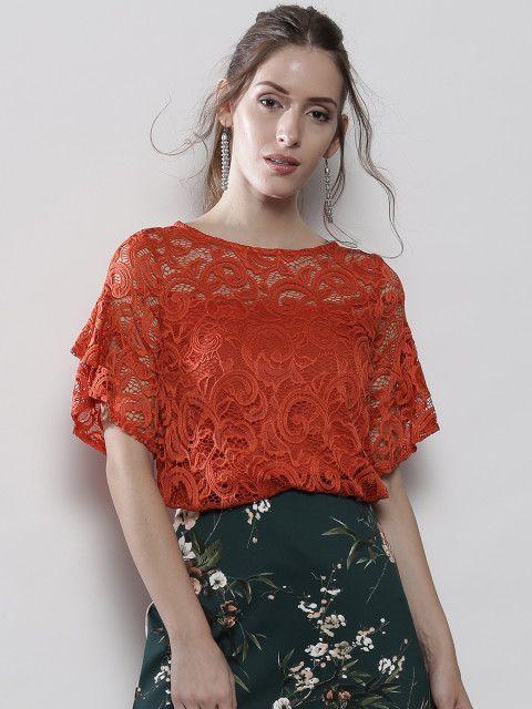 992868b13432a Buy DOROTHY PERKINS Women Orange Lace Top - Tops for Women | Myntra ...