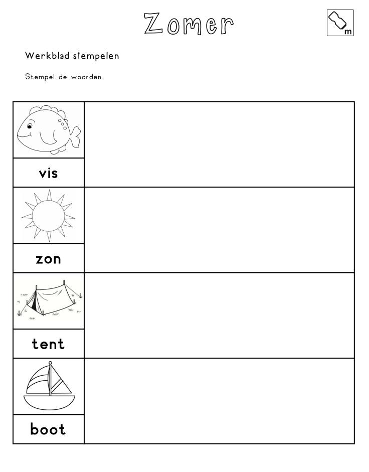 Stempelen - Stempel de woorden [jufshanna.nl] | Vakantie | Pinterest
