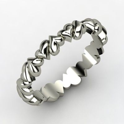 Band of Hearts  14K White Gold Ring