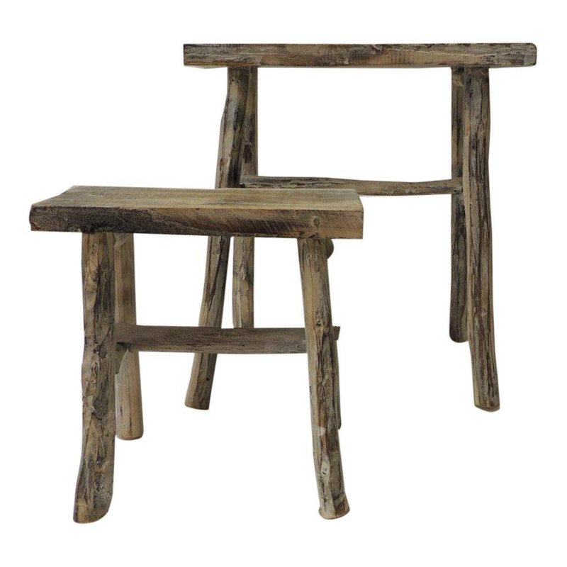 Solid Wood Nesting Tables Pottery Barn: Vintage Asian White Washed Rubbed Wood Painted Artisanal