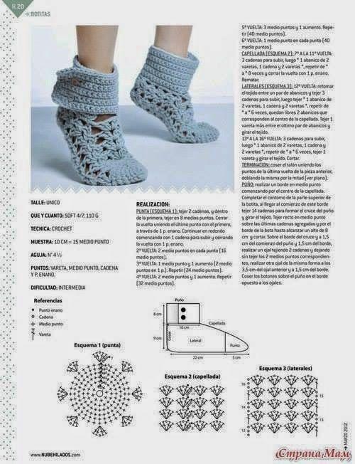 Irlandzki szydełka i: Dzianiny buty. Schemat. | A tejer ...