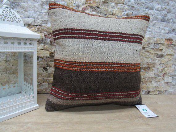 Turkish pillow 16x16 home decor pillow boho pillow aztec pillow handwoven pillow case 16x16 striped cushion throw pillow code 2343