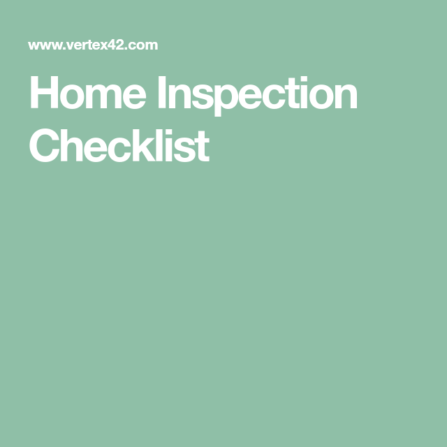 Home Inspection Checklist  Rental Homes